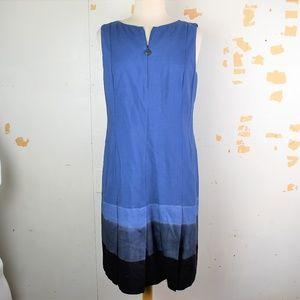AKRIS PUNTO Blue Tie Dye Hem Pleated Skirt Dress